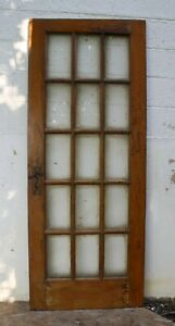 30 X77 Antique Vintage French Interior Door Solid Wood Wooden Window Glass Pane