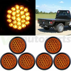 6pcs 4 Inch Round 24 Led Tail Light Reverse Backup Lamp Amber For Truck Trailer