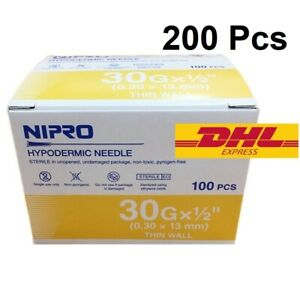 200x 30g 1 2 Nipro Hypodermic Needle Thin Wall 0 3x13 Mm Sterile Science Lab