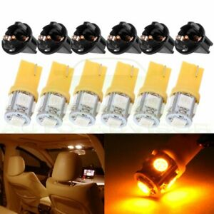 6pcs Yellow 168 194 T10 5smd Led Sockets For Instrument Dash Speedometer Light