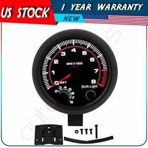 Universal Car Tachometer Tacho Gauge Meter White Led Shift Light Black Shell