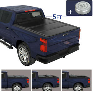 Hard Solid Tri fold Tonneau Cover 5ft Truck Bed W Led For 2020 Jeep Gladiator