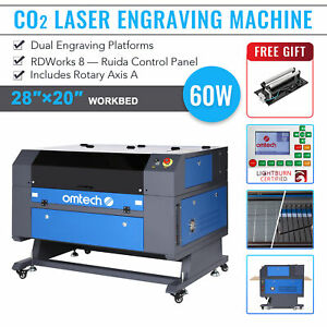 Omtech Co2 Laser Engraver 60w 28 x20 Cutting Engraving Machine With Rotary Axis