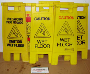 Lot Of 8 Rubbermaid Wet Floor Signs Caution Warning Sign
