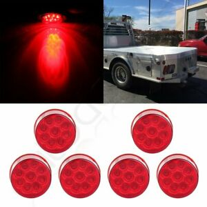 6x 2 Round Led Side Marker Clearance Lamp Turn Signal Tail Light Kits 9 Led Red