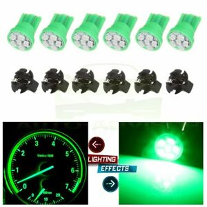 6x Green 194 T10 Led Bulbs Instrument Gauge Cluster Dash Light W Lock Sockets