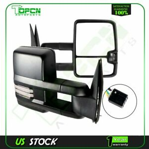 Towing Mirrors Power Heated Dynamic Led Signalspair For 99 02 Silverado Sierra