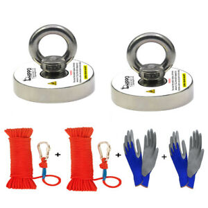 2x Fishing Magnet Kit 500 Lbs Pull Force Neodymium W Rope Carabiner Gloves