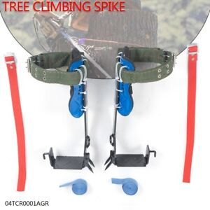 A Pair 2 Gears Tree Climbing Spike Set Adjustable Lanyard Rope Rescue Belt New