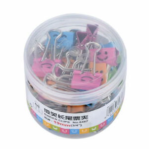 40pcs 19mm Cute Style Metal Binder Clips Paper Clips Clamps Binding For Office