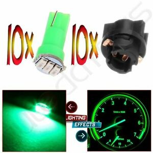 10x T5 74 85 70 Instrument Panel Dash Light Green Wedge Led Bulbs Pc74 Sockets