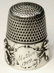 Antique Simons Bros Sterling Silver Thimble Cupid Etched Mother Dtd 1909