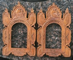 Pair Of Antique Hand Carved Photo Frames Birds Solid Wood