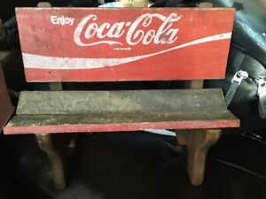 """Mini Coca Cola Bench For Dolls~ Made Out Of Old Coca-Cola Crates 12.5"""" X 12.5"""""""