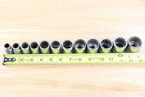 Vintage Snap On Sw 12pc Sae Chrome 12pt 1 2 Dr Shallow Cone Sockets