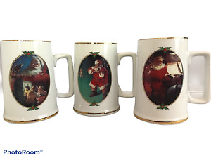 Lot of 3 Ultimate Source Holiday Coca Cola Mugs Steins 1996 Collector Edition