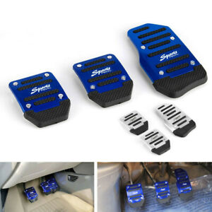 3pcs Blue Sports Non Slip Manual Car Accessories Gas Brake Pedals Pad Cover