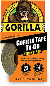 Gorilla Duct Tape To go Repairs Portable 1 X 30 Ft Black Double thick Adhesive