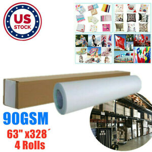 Us 4rolls 90gsm 63 X328 Hanji Dye Sublimation Paper For Heat Transfer Printing