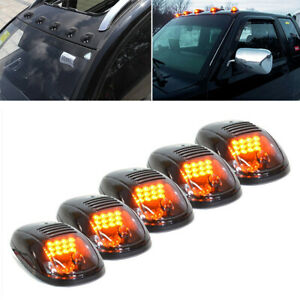 5 Black Smoked Lens Amber Led Cab Roof Marker Running Lights For Truck Suv Dodge