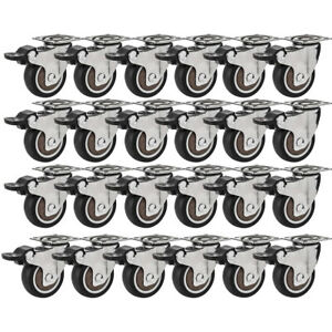 24 Pack 2 Low Profile Swivel Plate With Brake Black Rubber Caster Wheels