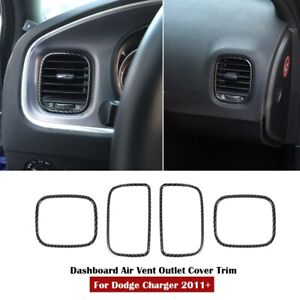 For Dodge Charger 11 Interior Dashboard Air Outlet Vent Cover Trim Carbon Fiber