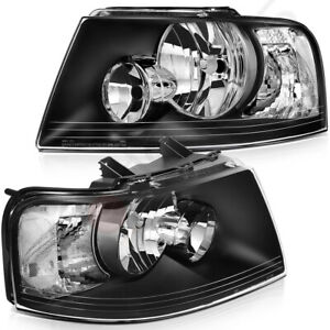 Headlight Assembly Fits 2003 2006 Ford Expedition Replacement Black Housing Pair