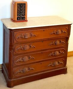 Beautiful 4 Drawer Antique Dresser With Marble Top Pristine Extremely Rare