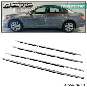 4pcs Car Window Moulding Trim Weather Strips Seal Fit For 2008 2012 Honda Accord