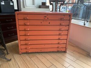 Vintage Metal Map Blueprint File Cabinet Painted Great Color 8 Drawer