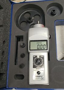 Shimpo Dt 105a s12 Digital Contact Tachometer Lcd Display Calibrated 2 20