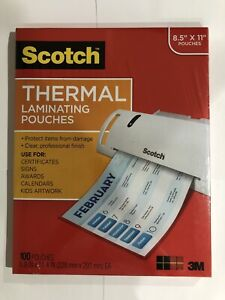 Scotch Thermal Laminating Pouches 8 5 x11 100 Pouches