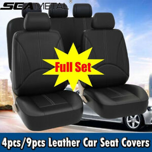 Pu Leather Front Rear Full Car Seat Covers Cushion Set For 2 5 Seats Luxury Us
