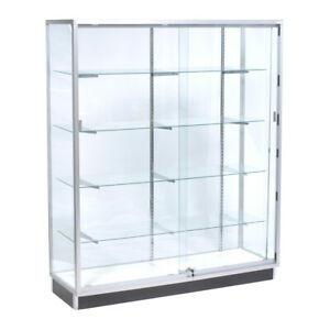 Framed Glass Wall Display Case 48 W X 20 D X 72 H Inches With Wood Back