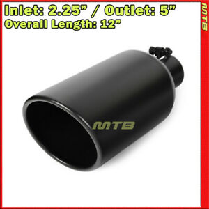 12in 2 25 Inlet 5 Outlet Stainless Black Bolt On Exhaust Single Wall Tip 234395