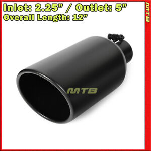 12in 2 25 Inlet 5 Outlet Stainless Black Bolt On Exhaust Single Wall Tip 234398
