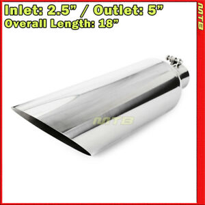 Universal Exhaust Tip Angled Polished 18 Inch 2 5in Inlet 5in Outlet 233535