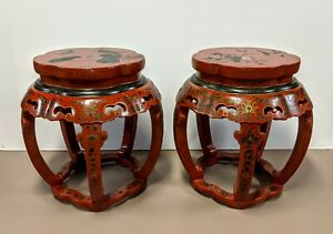 Pair Chinese Red Lacquered Enamel Painted Stools Chairs W Glass Tops