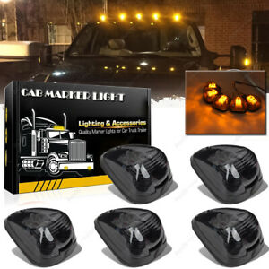 5pc Smoke Lens Amber Led Roof Running Lights Cab Marker For Ford 99 16 F250 f550