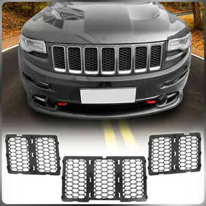 3pcs Matte Black Front Mesh Grille Inserts Kit For 2014 2016 Jeep Grand Cherokee