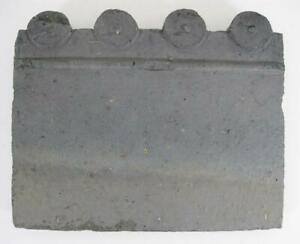 Antique Victorian Late 1800s Garden Edge Tile 4 Hump Blue Clay 4
