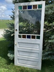 Antique Vintage Victorian Stain Glass Wood Door