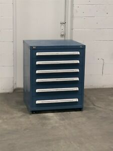 Used Stanley Vidmar 6 Drawer Cabinet 37 Inch High Industrial Tool Storage 2224