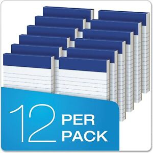 12 Ct Small 3 X 5 Narrow Perforated Writing Pads 50 Sheets Per Notepads