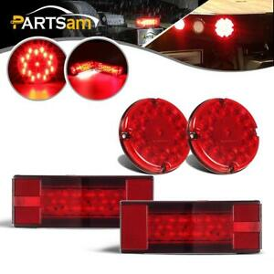 4 Red Stop Turn Tail Light License Plate Light For School Bus Boat Trailer Lamp
