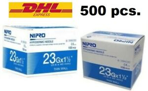 500x Nipro Hypodermic 23g 1 1 2 Needle Thin Wall Sterile 0 6x 40 Mm Science Lab