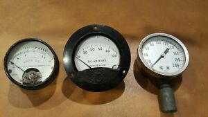 3 Vintage Electrical Instrument Dc Volts Amps Meter Pressure Gauges Steampunk