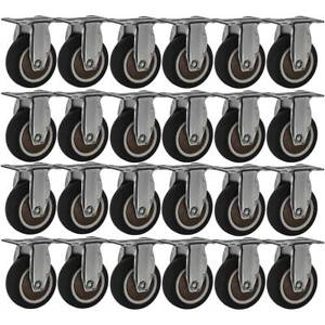 24 Pack 2 Low Profile Rigid Caster Brown Rubber Fixed Caster Wheels