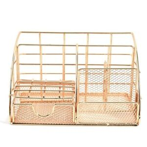 3x golden Desk Organizer For Women Mesh Office Supplies Desk Accessories Fe T1d0