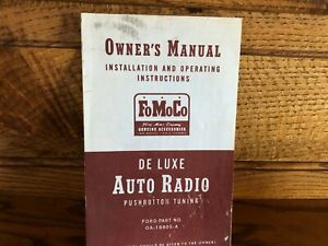 Fomoco Ford De Luxe Auto Radio Pushbutton Tuning Owner S Manual Vintage